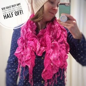 Accessories - Pink sparkly ruffle scarf